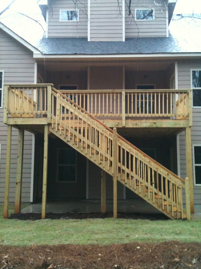deck with handrail and stairs the carolina carpenter