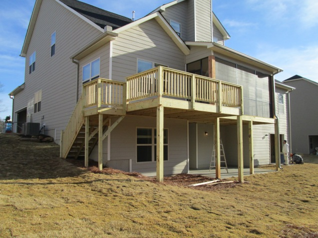 Deck with landing and stairs