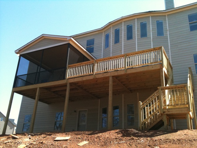 deck with landing and stairs the carolina carpenter