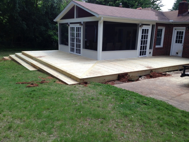 Porch with Wrap Around Deck and Stairs | The Carolina