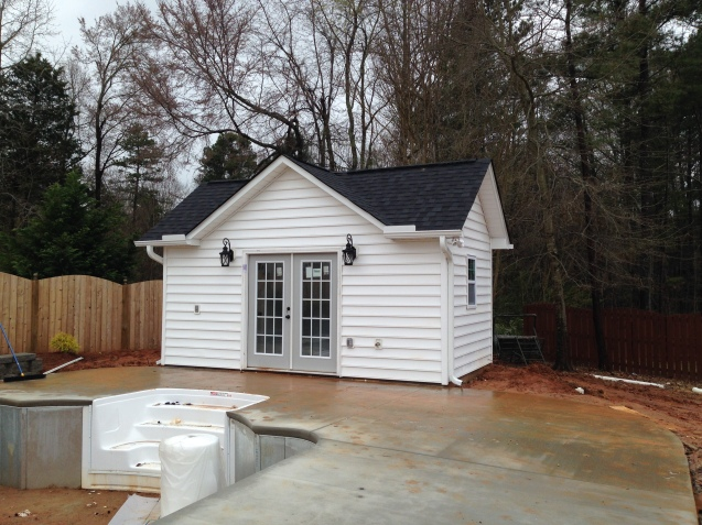 pool house french doors